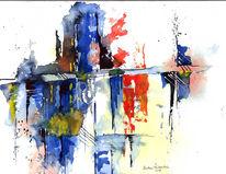 Abstrakt, Kreuz, Aquarellmalerei, Blau