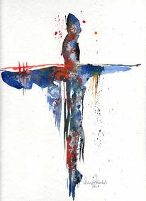 Aquarellmalerei, Blau, Kreuz, Malerei