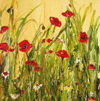Mohn, Blumen, Blüte, Acrylmalerei