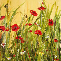 Grün, Rot, Blumen, Mohn