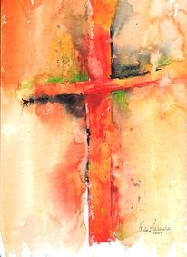 Kreuz rot, Malerei, Kreuz