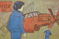 Pop art, Flugzeug, Frau, Kran