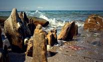 Strand, Welle, Miniaturwelt, Stein