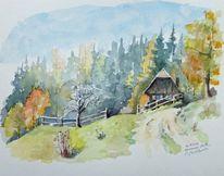 Hütte, Herbst, Steiermark, Aquarell