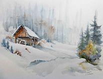 Kärnten, Schnee, Aquarellmalerei, Mühle