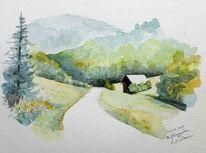 Landschaft, Aquarellmalerei, Steiermark, Aquarell