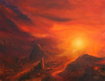 Malerei, Schaften, Sonne, Tal