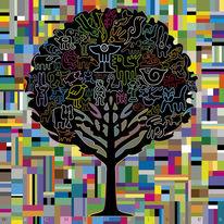 Kreaturen, Vielfarbig, Illustration, Versammlung