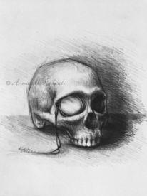 Tod, Surreal, Bleistiftzeichnung, Monokel