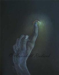 Glühwürmchen, Hand, Polychromos, Dunkel
