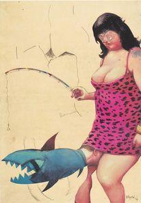 Fisch, Frau, Malerei
