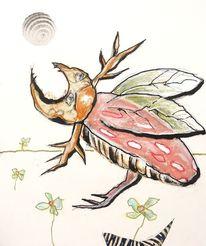 Hirschkäfer, Fliegen, Blumen, Malerei