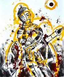 Kanone, Ritter, Schwert, Malerei