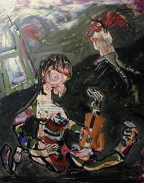 Malerei, Figural, Intensiv, Lippenstift