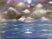 Welle, Drohendes unwetter, Abend, Mond