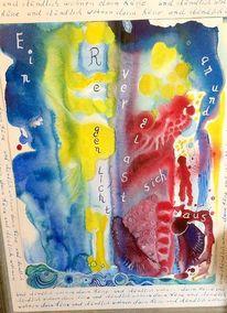 Farben, Regenlicht, Schrift, Mischtechnik