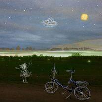 Mädchen, Himmel, Fahrrad, Handy