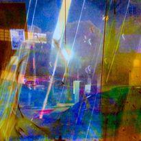 Gesicht, Häuserwand, Erdausschnitt, Lichtflüge