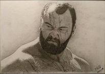 Portrait, Mann, Zeichnung, Kohlezeichnung