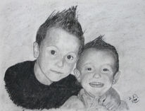 Kinder, Kohlezeichnung, Portrait, Zeichnungen