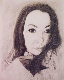 Menschen, Kohlezeichnung, Portrait, Zeichnung