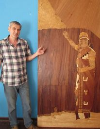 Naturholz, Intarsienbilder, Inka, Marketerie