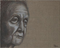 Leinen, Portrait, Alt, Acrylmalerei