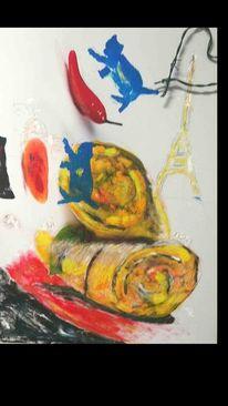 Frankreich, Klischee, Abstrakt, Malerei