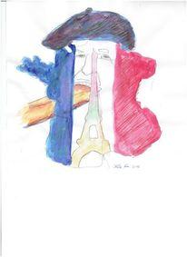 Kopf, Klischees frankreich, Bunt, Illustrationen