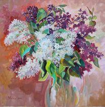 Blumen, Flieder, Ölmalerei, Malerei