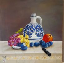 Alt, Ölmalerei, Stillleben, Trauben