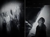 Monochrom, Portrait, Frau, Diptychon
