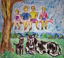 Menschen, Tiere, Skizze, Zeichnungen