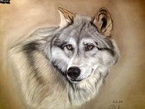Pastellmalerei, Wolf, Malerei