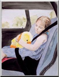 Aquarellmalerei, Schlaf, Mädchen, Kinderbuch