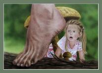 Fuß, Pilze, Schreck, Kind