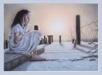 Einsamkeit, Kind, Sonnenaufgang, Frost