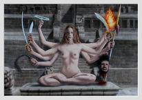 Acrylmalerei, Schwert, Akt, Frau