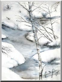 Birken, Schnee, Sumpf, Aquarellmalerei