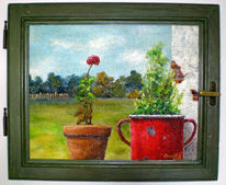 Landschaft, Malerei, Topf, Fenster