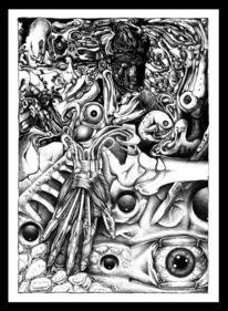Kollaboration, Kugelschreiber, Zeichnungen, Surreal