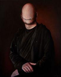 Lasurtechnik, Ölmalerei, Portrait, Lächeln