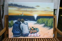 Sonnenuntergang, Insel, Picknick, Dünen