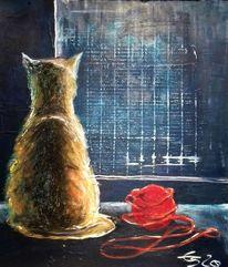 Fenster, Stillleben, Katze, Malerei