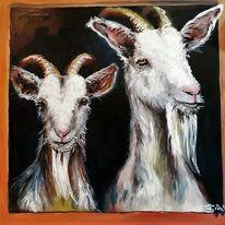Schwein, Ziegen, Haustier, Acrylmalerei