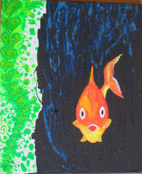 Fisch, Gold, Malerei, Surreal