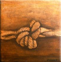 Knoten, Braun, Acrylmalerei, Verknüpfung
