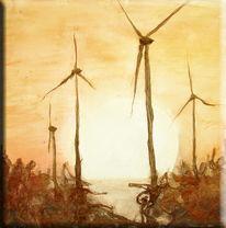 See, Sonnenuntergang, Windrad, Windmühle