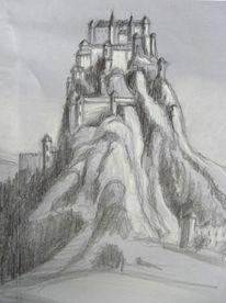 Zeichnung, Skizze, Landschaft, Grafik