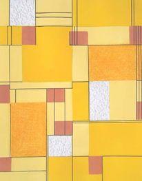 Mischtechnik, Abstrakt, Mondrian, Farbfeldmalerei